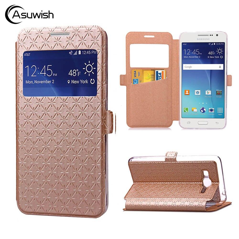 Asuwish Flip Couverture En Cuir Téléphone Cas Pour Samsung Galaxy Grand-Premier Grandprime SM G530 G530H G531 G531H G531F SM-G530H SM-G531H