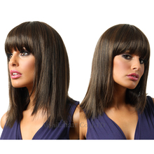 Medium long Straight Hair Wigs  Ombre  Brown Layered Wigs Kylier Jenner  Bob Cut  Wig Peruque synthetic Women Afo Americian