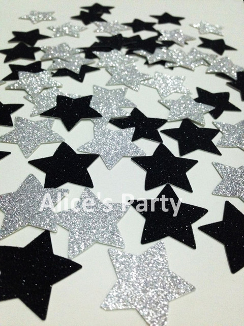 Gorgeous 400pcs Silver Glittery Black Twinkle Stars Confetti Baby Shower Birthday Party Decoration Wedding Table Setting & Gorgeous 400pcs Silver Glittery Black Twinkle Stars Confetti Baby ...