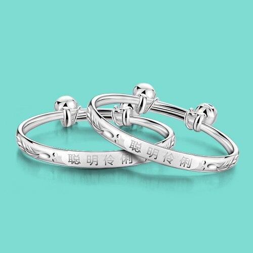 925 серебро браслет для ребенка в китайском стиле колокол кулон твердых Серебряный браслет младенческой украшения Бесплатная доставка