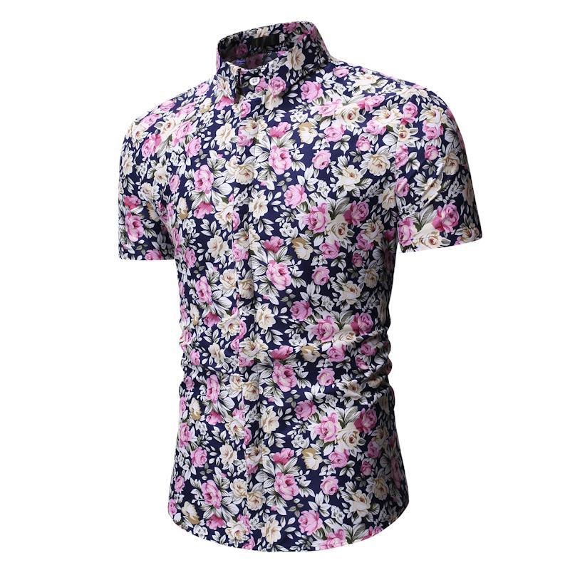 Hawaiian Shirt Mens Clothing Casual Short Sleeve Flower Men's Blouse Men Fashion Floral Shirts New