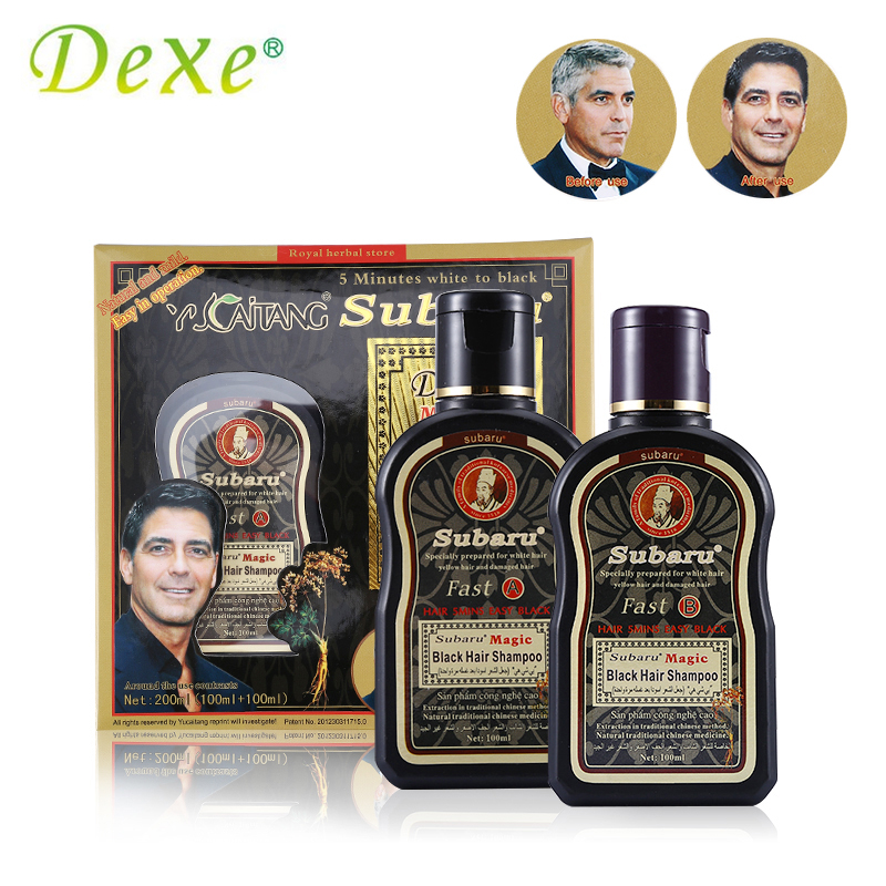 2pc=1set Dexe Fast Black Hair Shampoo Chinese Herbal Medicine Non Silicone Oil Dry Shampoo 5 Minutes Colorant + Treatment ...