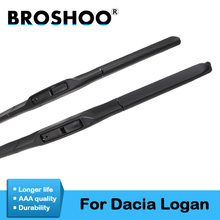цена на BROSHOO Car Wiper Blades Natural Rubber For Dacia Logan 1 2, Fit Standard Hook Arm/Bayonet Arm Model Year From 2004 To 2018
