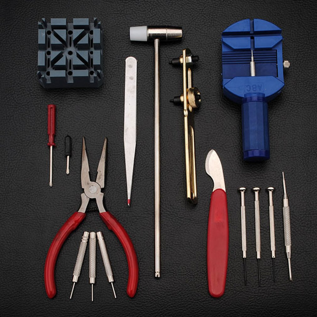 16pcs set Professional Watch Repair Tool Kit Watch Band Holder Case Opener Band Link Pin Wristwatch Battery Replacement Tool in Repair Tools Kits from Watches