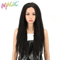 Magic Hair 26 Inch Synthetic Lace Front Wigs For Black Women Crochet Braids Twist Jumbo Dread Faux Locs Hairstyle Long Hair