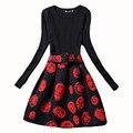 Европа 2017 Осень Зима dress мода длинным рукавом женщины платья цветочный печати A-Line повседневная dress ladies женщины бальные платья