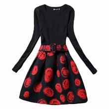 Europe 2016 Autumn Winter dress fashion long sleeve women dresses floral print A-Line casual dress ladies women party dresses