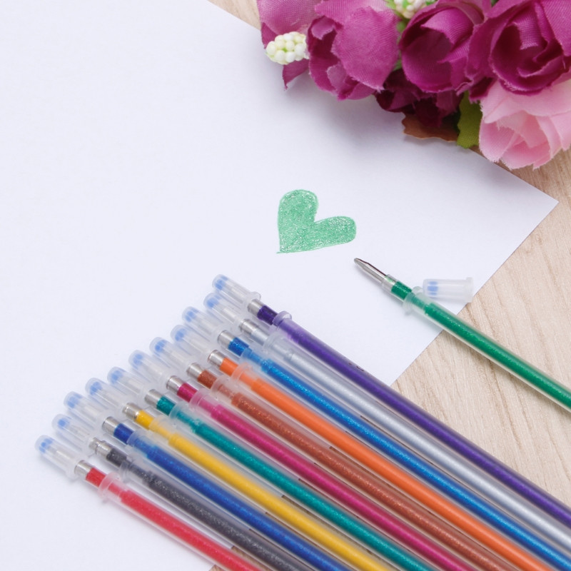 48Pcs/set Flash Gel Pen Refill Color Full Shinning Refill For The ChildS Drawing Ball Point Pen Office Stationery