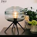 Современная настольная лампа для гостиной декоративные фонари для спальни Led металлическая ручная работа прозрачный стеклянный абажур Све...
