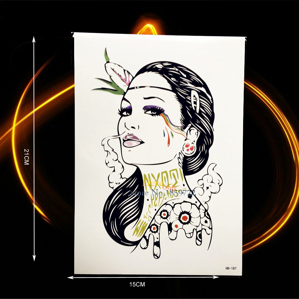 ᗑ1pc Sexy Old School Henna Waterproof Temporary Tattoo Women Body