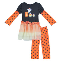Latest Fall Cotton Halloween Girls Clothing Sets Long Sleeve Ghost Letter Top With Lace Swing Baby