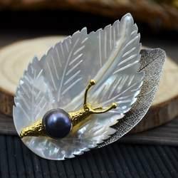Amxiu ручной работы Природные рябчик основа натуральный серый жемчуг броши оставьте Улитка Форма Брошь контакты позолоченные Цепочки и