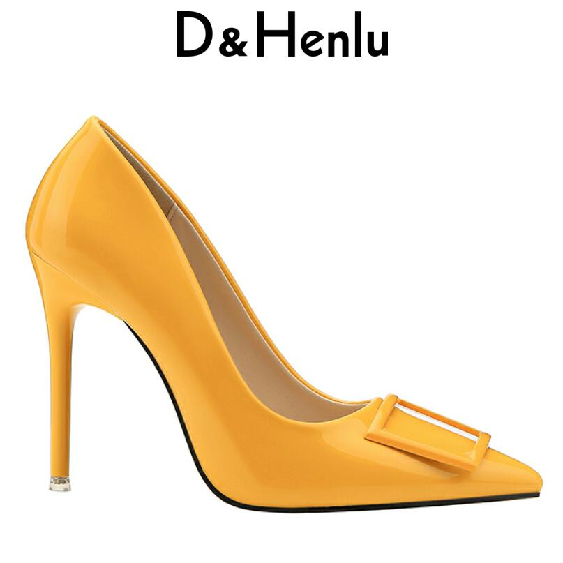 D&Henlu Shoes Pumps Women Shoe Summer Heel Woman High Heel Sexy Pointed Toe Shoes White Heels Square Buckle Zapatos Tacon Mujer