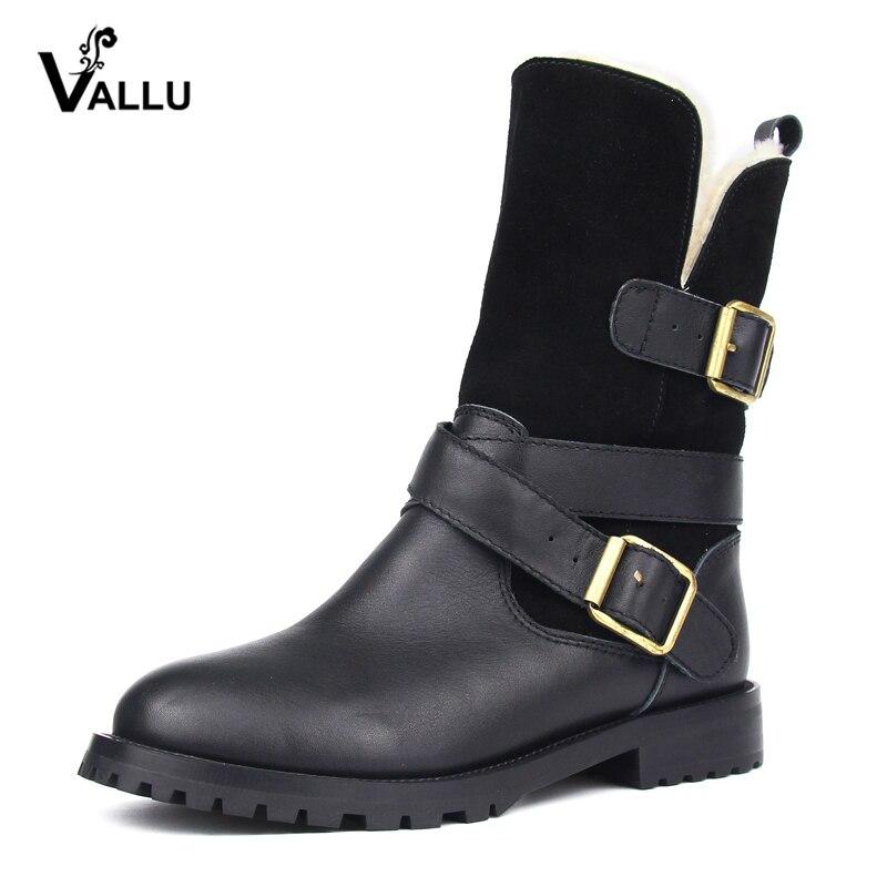 VALLU 2018 зимние ботинки женщин сапоги Натуральная кожа Пряжка молния теплые сапоги шерсти снегоступы