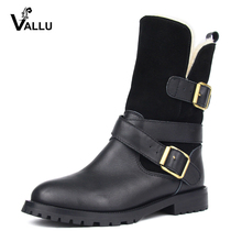 VALLU 2018 Winter Women Shoes Boots Genuine Leather Buckle Zip Warm Boots Wool Snow Boots