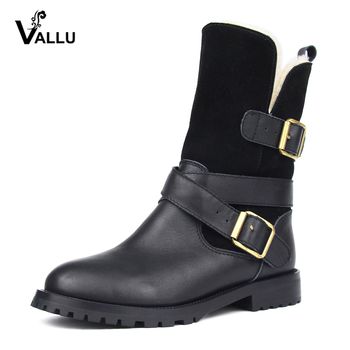 VALLU 2019 Winter Women Shoes Boots Genuine Leather Buckle Zip Warm Boots Wool Snow Boots