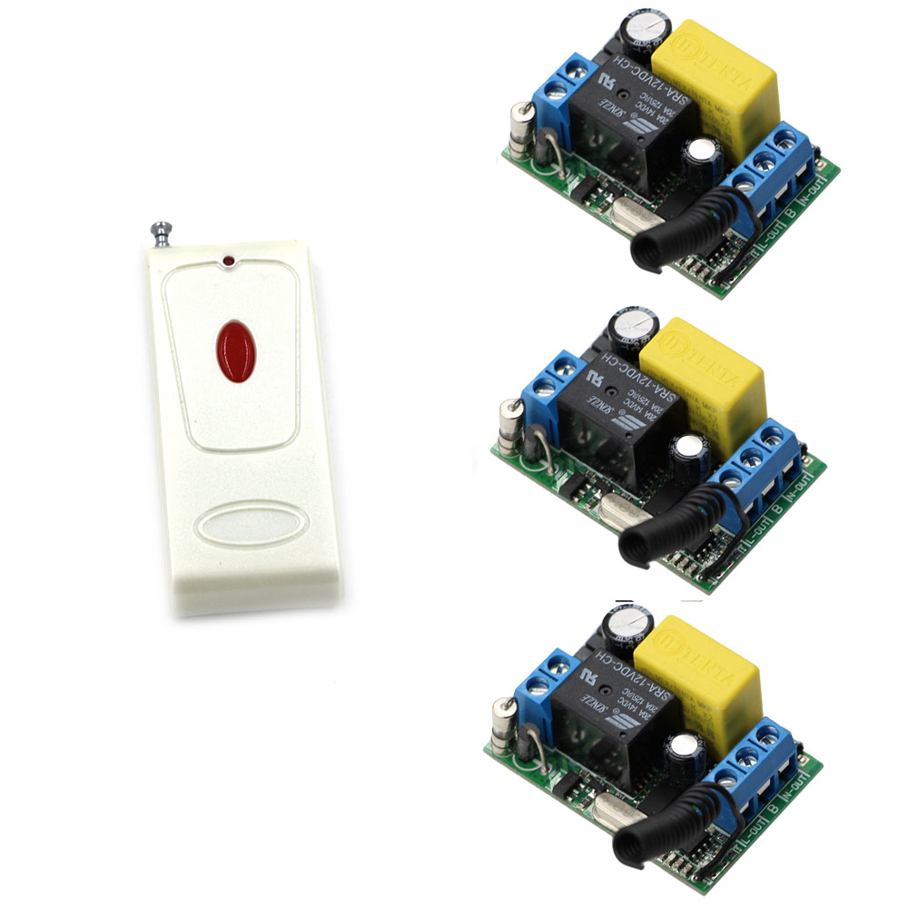 AC 220V Wireless Remote Control Light Switches Radio Light Switch 1CH Relay Module Receiver + One Button Transmitter ; 315/433 220v 1ch radio wireless remote control switch 8 receiver