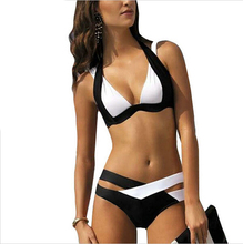 Women Sexy Chic Spaghetti Strap Color Block Criss Cross Bikini Set Halter Push Up Swimwear Strap