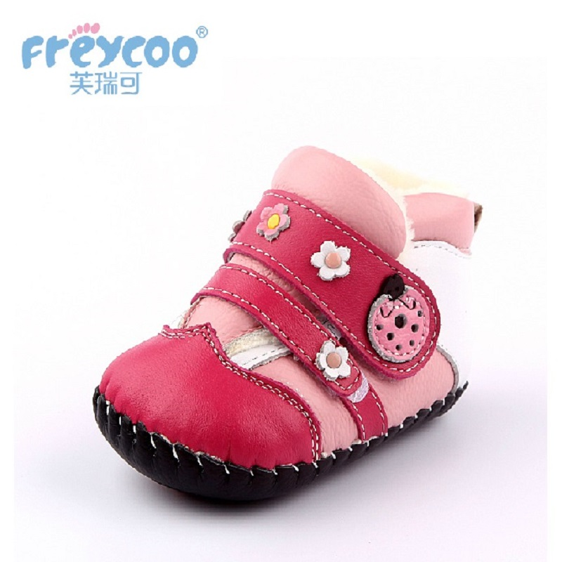 Freycoo 2018 New Kids Shoes Winter Baby Toddler Shoes For Boys Girls Cowskin Of 6-18 Months Genuine Leather Children Shoes1152