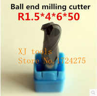 Frez ze stopu 1 sztuk * 2F-R1.5*4*6*50 piłka Frez czołowy, frez z węglika, prosto shank frez, narzędzia CNC
