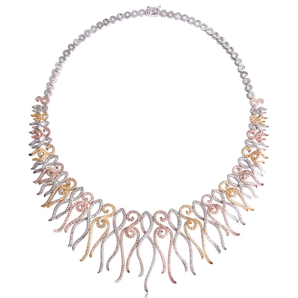 Dazz Flower Shape Choker Necklace Bracelet Earrings Ring Brass Three Tones Colors Sets Women Girls Wedding Ornament Jewelry Set