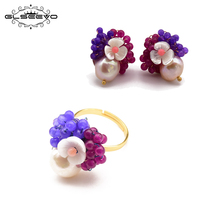 GLSEEVO 925 Sterling Silver Handmade Natural Fresh Water Baroque Pearl Ring Earrings For Women Pearl Fine Jewelry Sets GS0005