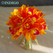 20 pcs/Lot Sunset Cymbidium Orchid Bride Banquet Flower Real Touch Flower Bunch Wedding Party Home Table Flower Free Shipping