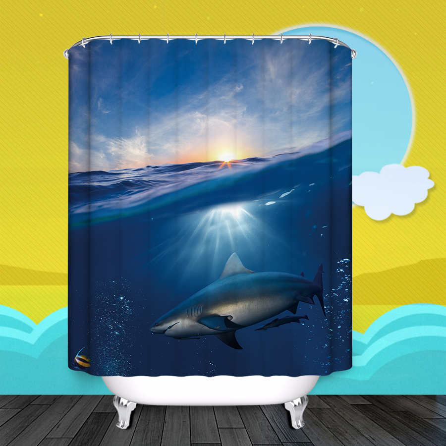 IBNAO Shark Shower Curtains Animal Style Waterproof Polyester Eco-friendly Fabric Bathroom Curtain