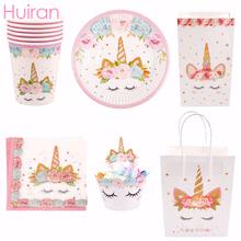 Huiran Unicorn Party Decor Disposable Tableware Gifts Birthday Supplies Baby Shower Unicornio