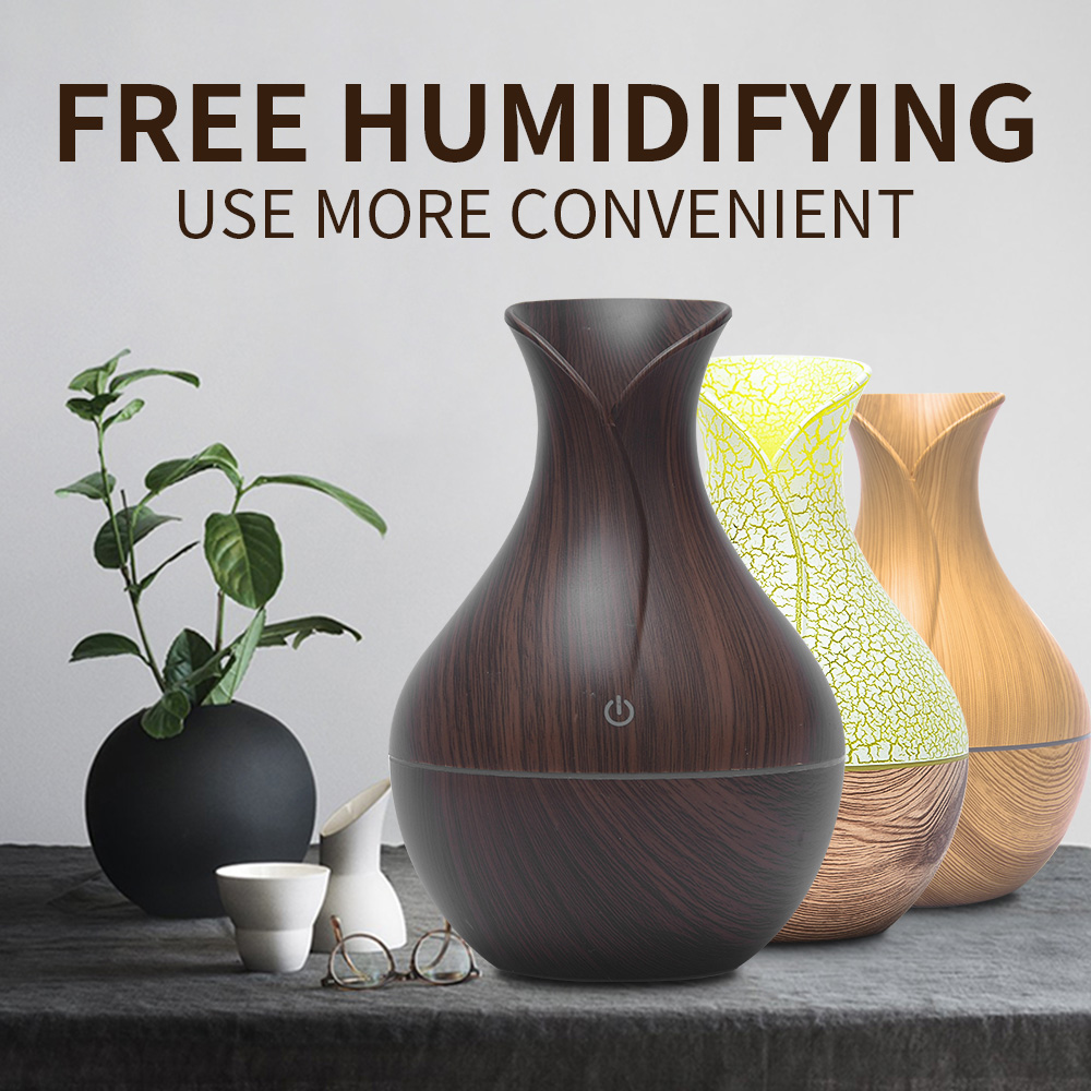 C Usb Humidifier NXDA 500ml Wooden Mist Aromatherapy Humidifier Aroma Essential Oil Diffuser Air Purifier for Office Home Bedroom Living Room Study Yoga Spa,Christmas Business Gift Lover Gift