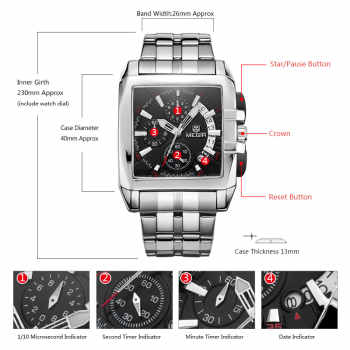 MEGIR Fashion Mens Watches Top Brand Luxury Quartz Watch Men Steel Date Waterproof Sport Watch Relogio Masculino