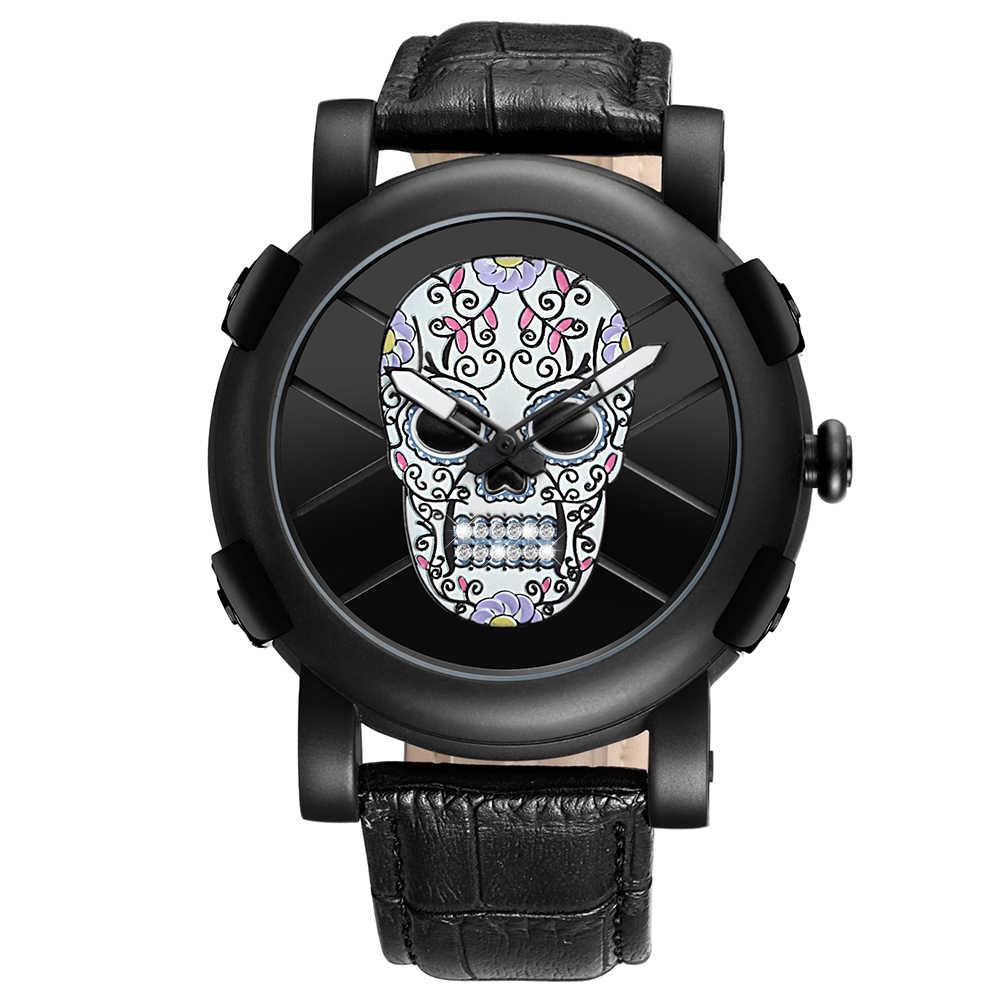 SKONE 2018 reloj de pulsera de cuarzo de marca de lujo para hombre de esfera grande de calavera de pirata relojes militares para hombre reloj de estilo deportivo