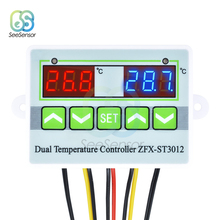 цена на ST3012 Temperature Controller Dual Digital LED AC 220V 12V 24V Thermometer Thermostat Controller Switch Dual NTC Sensor Probe