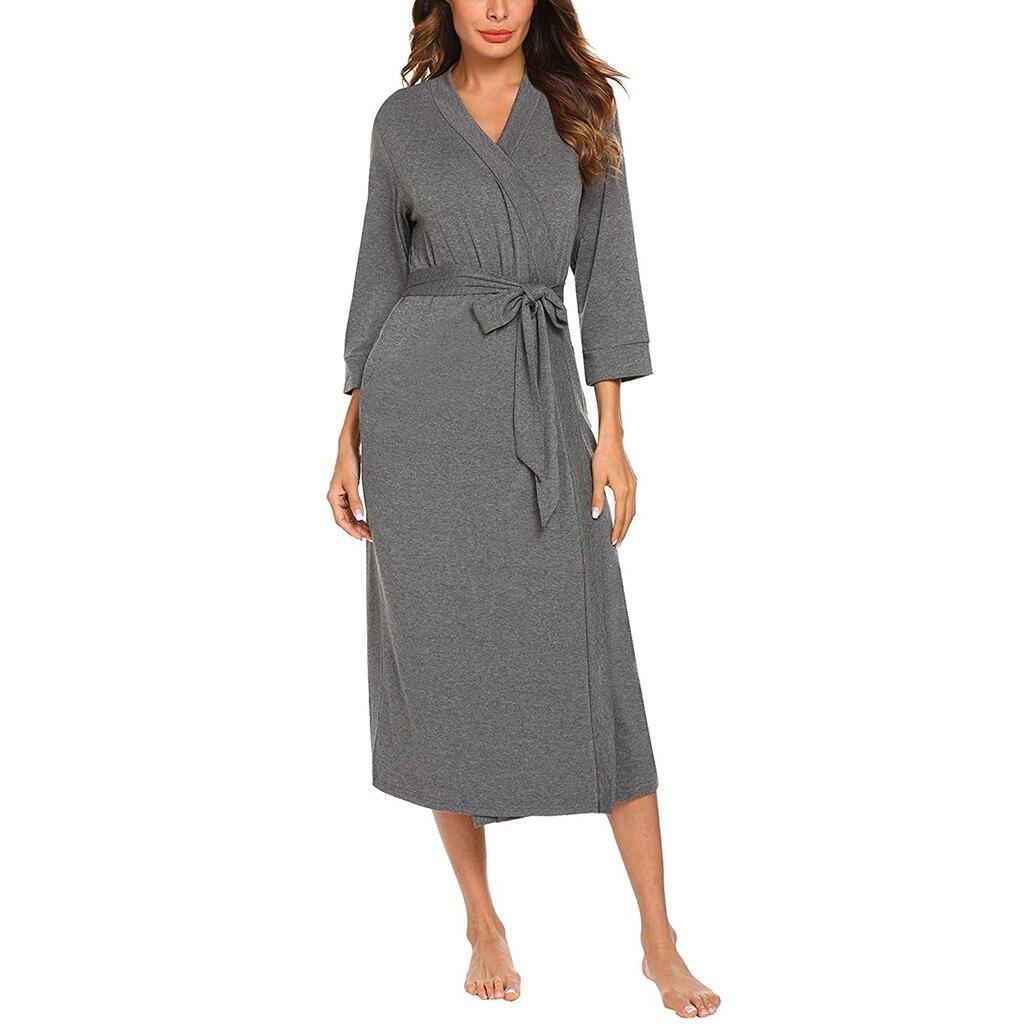 Women's Sleepwear Solid Cotton blends 4/3 Sleeve V-neck Lightweight With Belt Pocket Long Robe Bathrobe Roupão de cor sólida #E