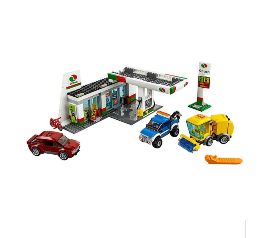 02047 540PCS Lepin Genuine City Town Service Station Building Blocks Bricks Educational Toys for Children gifts brinquedos 60132 waz compatible legoe city lepin 2017 02022 1080pcs city 50th anniversary town figure building blocks bricks toys for children