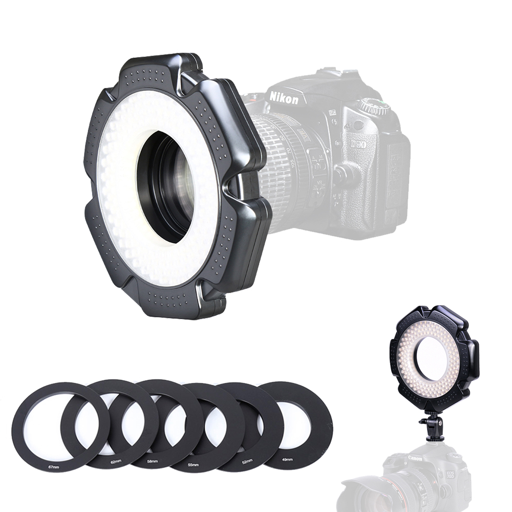 160 Macro Photo 10W LED Camera Video Ring Light Dimmable with Adapter Rings for Canon Nikon