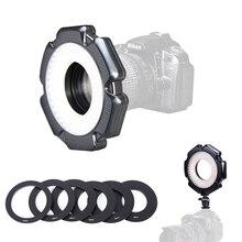 160 Макросъемка 10 Вт светодиодный видео-кольцевой светильник с регулируемой яркостью с переходными кольцами для камеры Canon Nikon sony Olympus DSLR