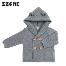 6M-24M Children Solid Hooded Winter Decoration Boy/Girl Warm Jacket Baby Kids Double Breasted Ear Decoration Cute Sweaters,DC332