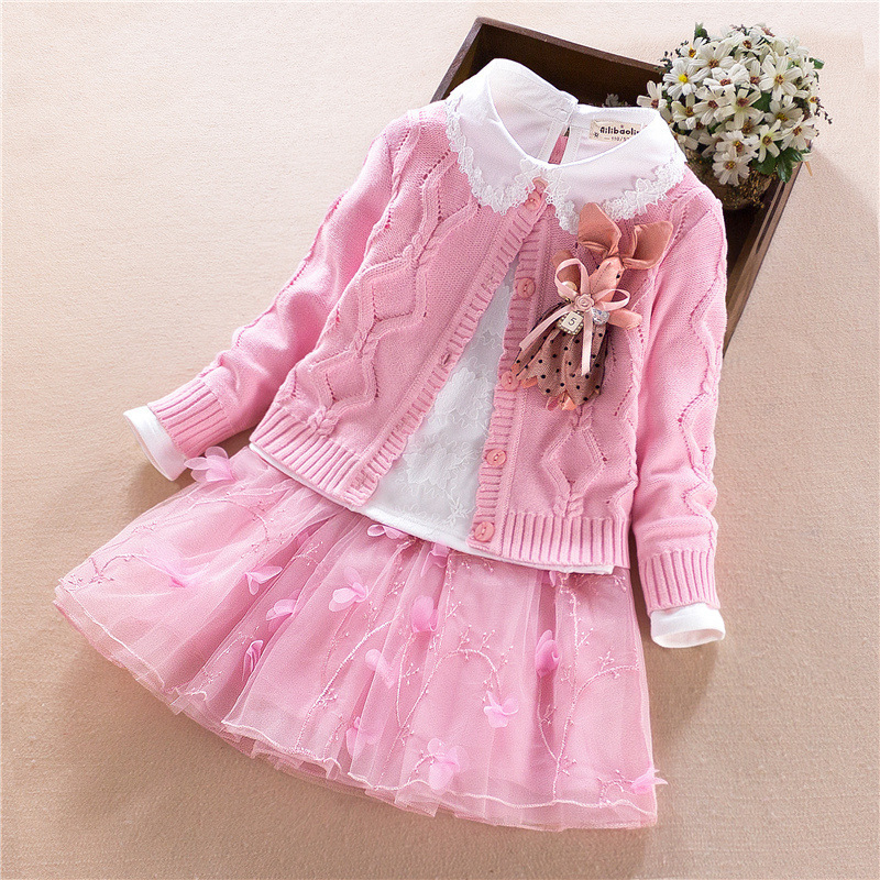 Children Clothing 2018 Autumn Korean Girls Clothing 3pcs Set Long Sleeve Sweater Kids Cardigan Pom Pom Sweater Children's Dress pom pom sheet set