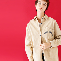 Toyouth Women 2017 Autumn New Vintage Letters Embroidery Irregular Pocket Corduroy Blouse