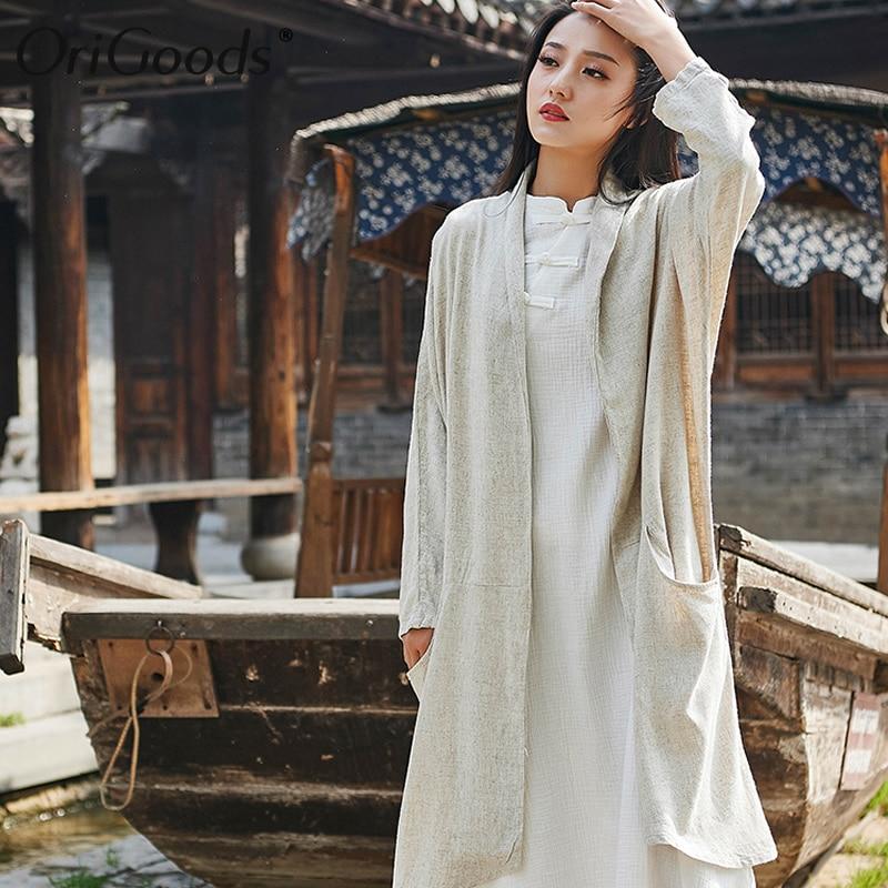OriGoods Vintage Long Kimono chemise femmes lin grande taille à manches longues chemise Kimono style chemisier pour femmes été longs hauts B263 - 2