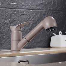 Бесплатная Доставка Продвижение вытащить кухонный кран и латунь вытащить ванной бассейна кран с одной ручкой Кухня смеситель