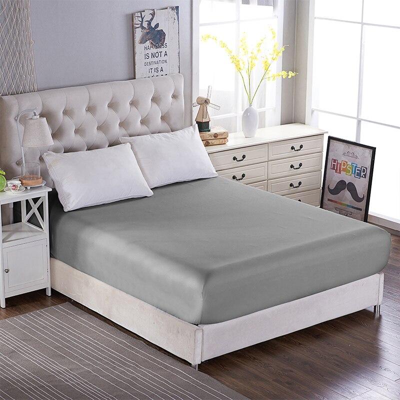Poliéster grande dobro escovado do protetor do colchão do hotel do don 160cm * 200cm da cama da cor sólida da multi especificação com faixa elástica|Colcha| |  - title=