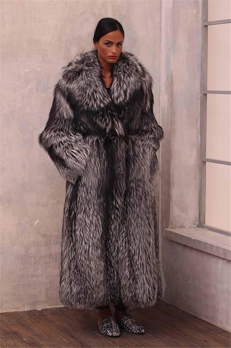 Véritable Fox Veste Silver Femme Cm Fourrure Mode 100cm 130cm Long Long 130 Grand Hiver Chaud Femmes Vente Naturel 2018 Nouveau Manteau De Col qaA7zwFz4x