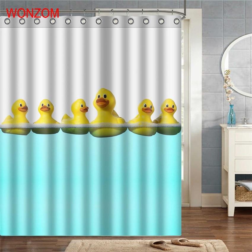 WONZOM Duck Polyester Fabric Dog Shower Curtain Penguin Bathroom Decor Waterproof Animal Cortina De Bano With 12 Hooks Gift 2017