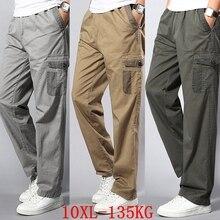 Мужские брюки карго большого размера 5XL 7XL 8XL 9XL 10XL тянущиеся брюки осенние военные прямые брюки в стиле сафари с карманами хаки 50