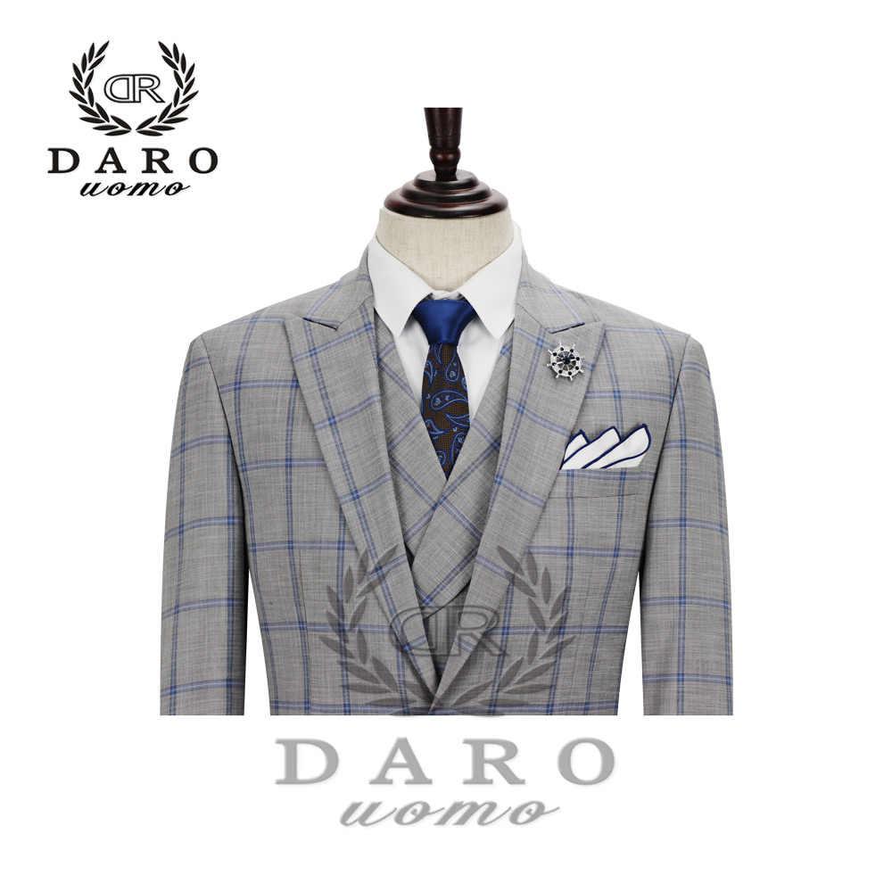 2020 DARO Herren Anzug terno Slim Fit Casual one button Mode Grid Blazer Seite Vent Jacke und Hose für Hochzeit party DR8188