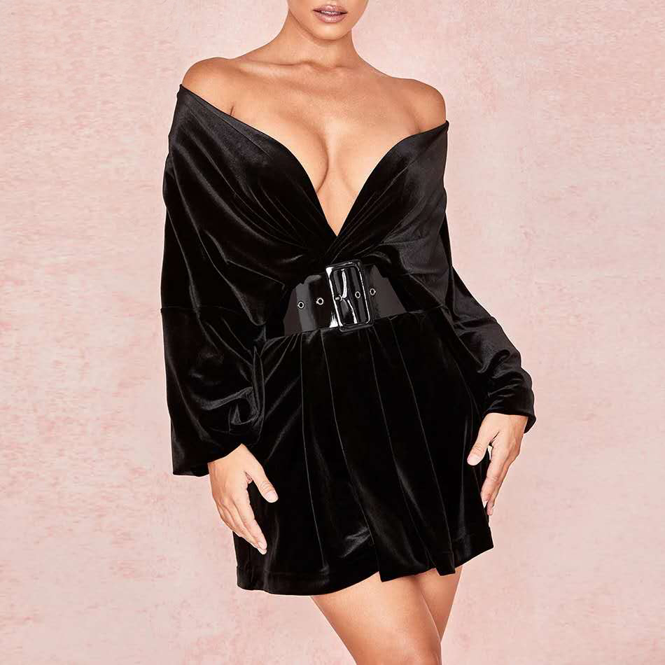 <font><b>Women's</b></font> <font><b>Sexy</b></font> Black Velvet Bandage <font><b>Dress</b></font> Long <font><b>Sleeve</b></font> Deep V-neck Mini <font><b>Dress</b></font> Club Celebrity Party Runway <font><b>Dress</b></font> Bodycon Vestidos image