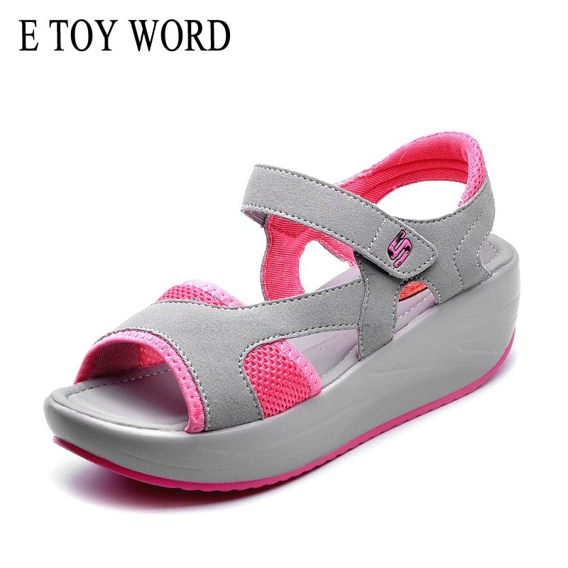 E TOY WORD casual frauen sandalen mesh atmungsaktive schuhe Frauen damen keile sandalen Sommer Plattform Haken schleife sandale Größe 35-40