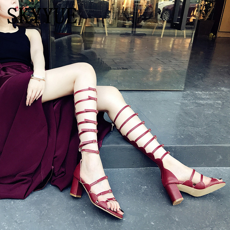 Genuine Leather Gladiator Knee HIgh Summer Women Sandal Boots Party Elegant Open Toe Buckle Strap Women Pumps Shoes Women women shoes for summer open toe mesh laser gladiator sandal boots buckle strap thin high heels sandalias mujer ladies shoes